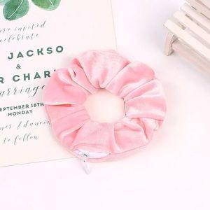 🎉 Pink Velvet Zipper Pouch Scrunchie Accessory